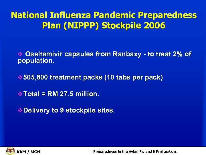 National Influenza Pandemic Preparedness Plan (NIPPP) Stockpile 2006 v Oseltamivir capsules from Ranbaxy -