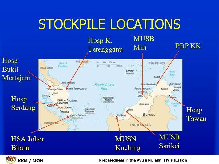 STOCKPILE LOCATIONS Hosp K. Terengganu MUSB Miri PBF KK Hosp Bukit Mertajam Hosp Serdang