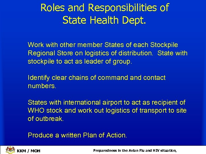 Roles and Responsibilities of State Health Dept. Work with other member States of each