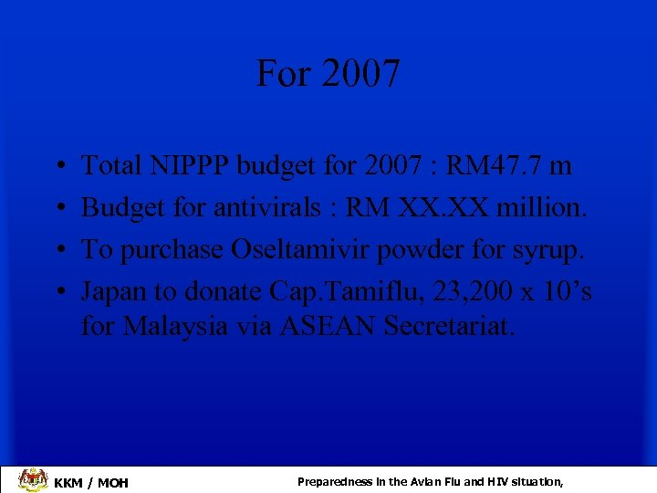 For 2007 • • Total NIPPP budget for 2007 : RM 47. 7 m
