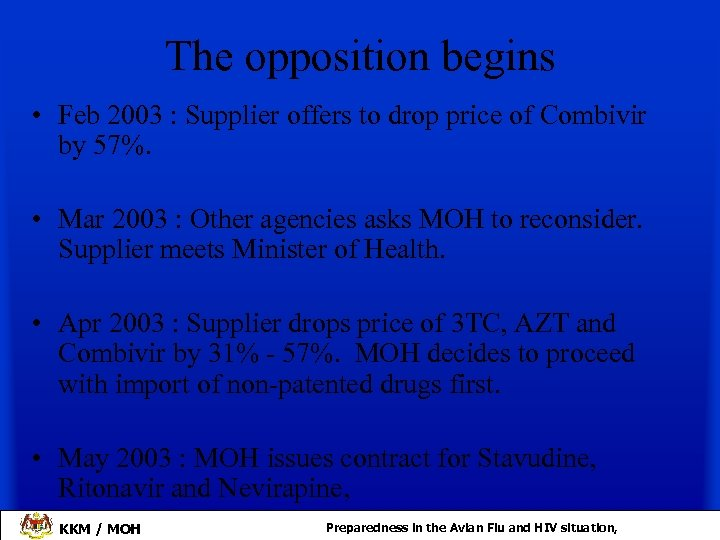 The opposition begins • Feb 2003 : Supplier offers to drop price of Combivir
