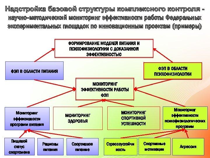 Надстройка базовой структуры комплексного контроля научно-методический мониторинг эффективности работы Федеральных экспериментальных площадок по инновационным