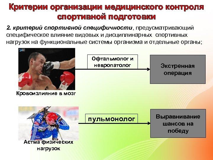 Критерии организации медицинского контроля спортивной подготовки 2. критерий спортивной специфичности, предусматривающий специфическое влияние видовых