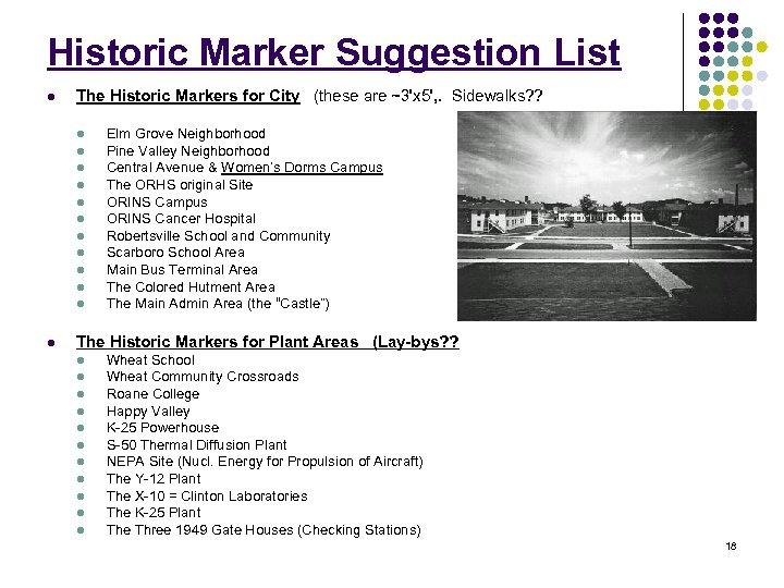 Historic Marker Suggestion List l The Historic Markers for City (these are ~3'x 5',