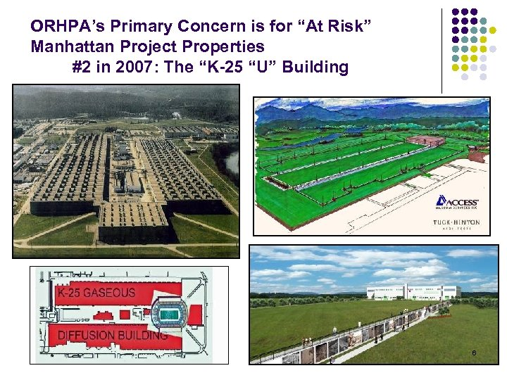 """ORHPA's Primary Concern is for """"At Risk"""" Manhattan Project Properties #2 in 2007: The"""