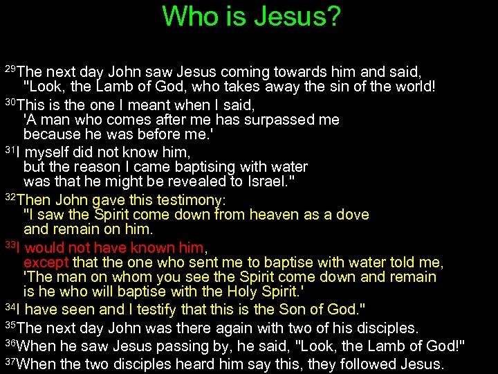 Who is Jesus? 29 The next day John saw Jesus coming towards him and
