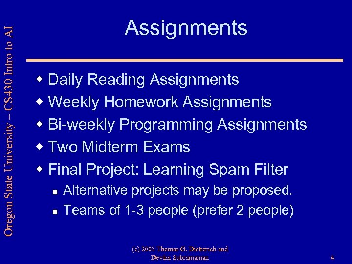 Oregon State University – CS 430 Intro to AI Assignments w Daily Reading Assignments