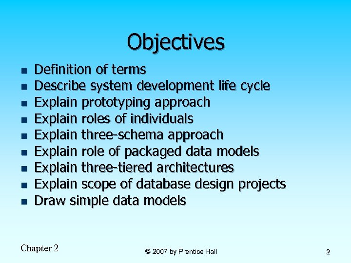 Objectives n n n n n Definition of terms Describe system development life cycle
