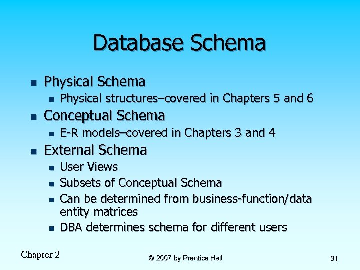 Database Schema n Physical Schema n n Conceptual Schema n n Physical structures–covered in