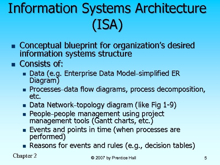 Information Systems Architecture (ISA) n n Conceptual blueprint for organization's desired information systems structure