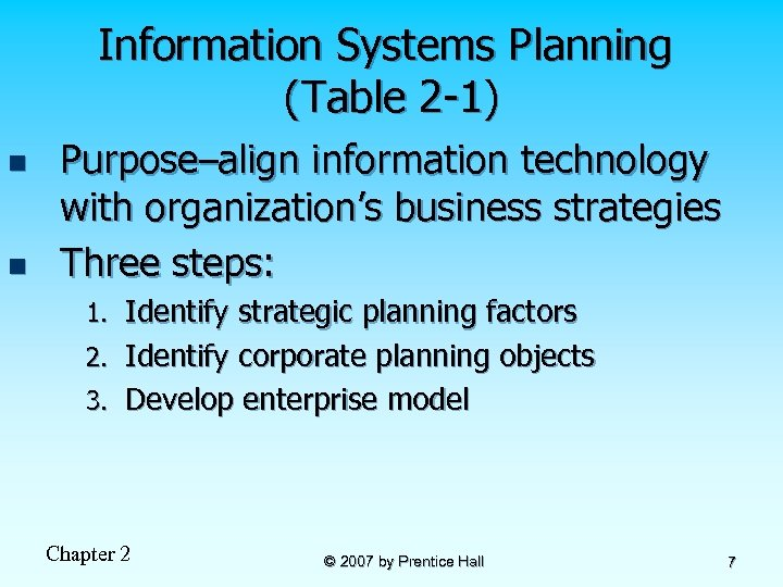 Information Systems Planning (Table 2 -1) n n Purpose–align information technology with organization's business