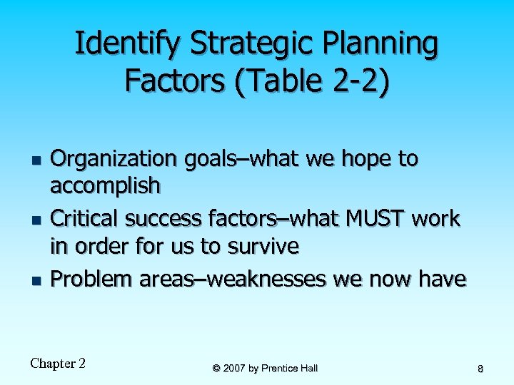 Identify Strategic Planning Factors (Table 2 -2) n n n Organization goals–what we hope