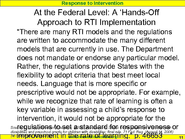 """Response to Intervention At the Federal Level: A 'Hands-Off Approach to RTI Implementation """"There"""