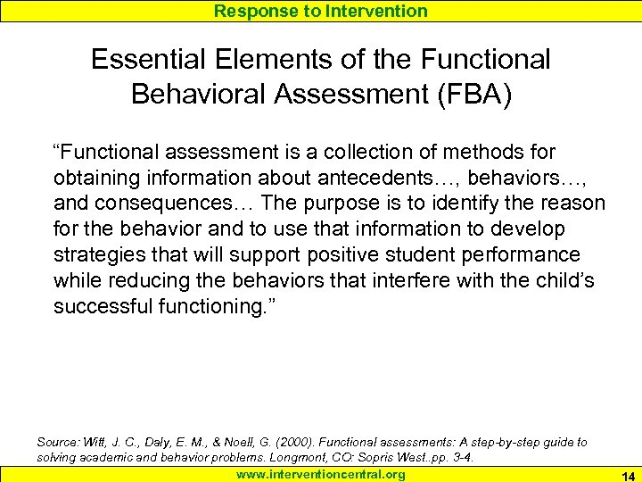 """Response to Intervention Essential Elements of the Functional Behavioral Assessment (FBA) """"Functional assessment is"""