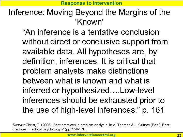 """Response to Intervention Inference: Moving Beyond the Margins of the 'Known' """"An inference is"""