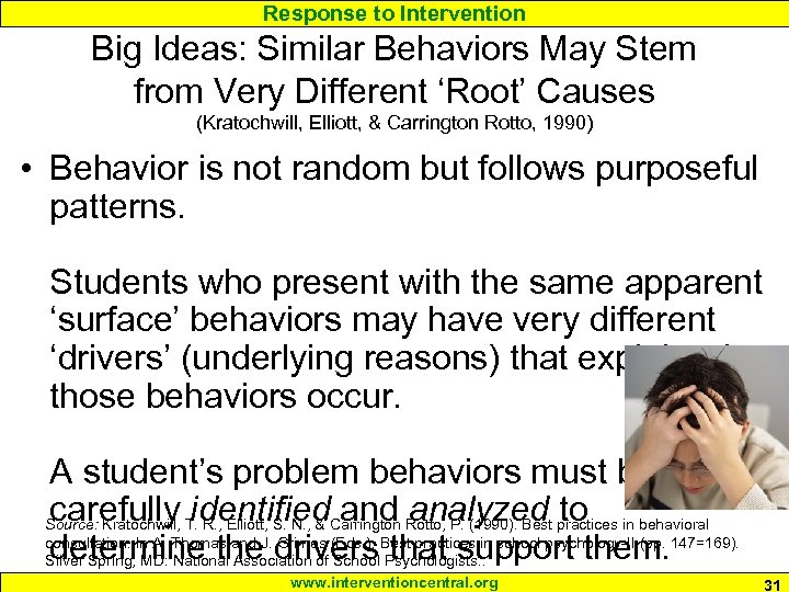 Response to Intervention Big Ideas: Similar Behaviors May Stem from Very Different 'Root' Causes