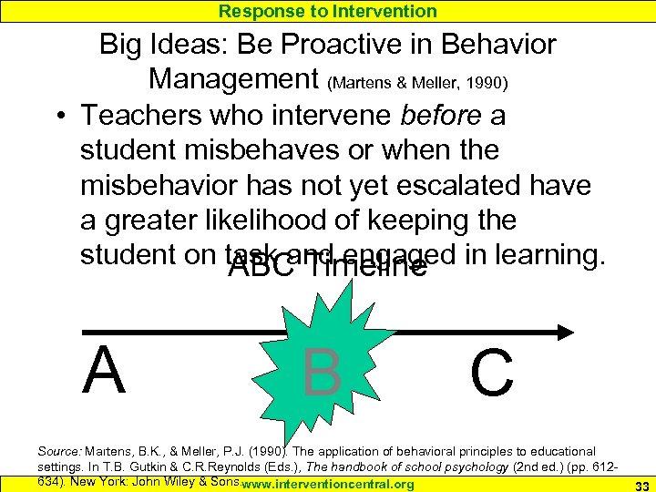 Response to Intervention Big Ideas: Be Proactive in Behavior Management (Martens & Meller, 1990)