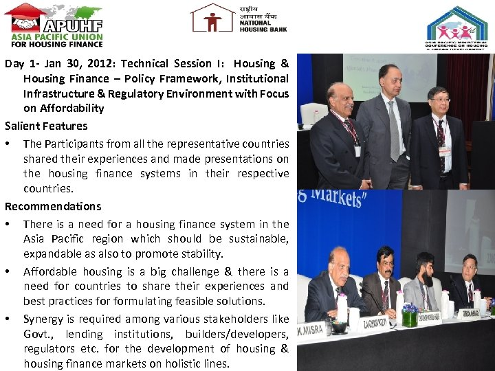 Day 1 - Jan 30, 2012: Technical Session I: Housing & Housing Finance –