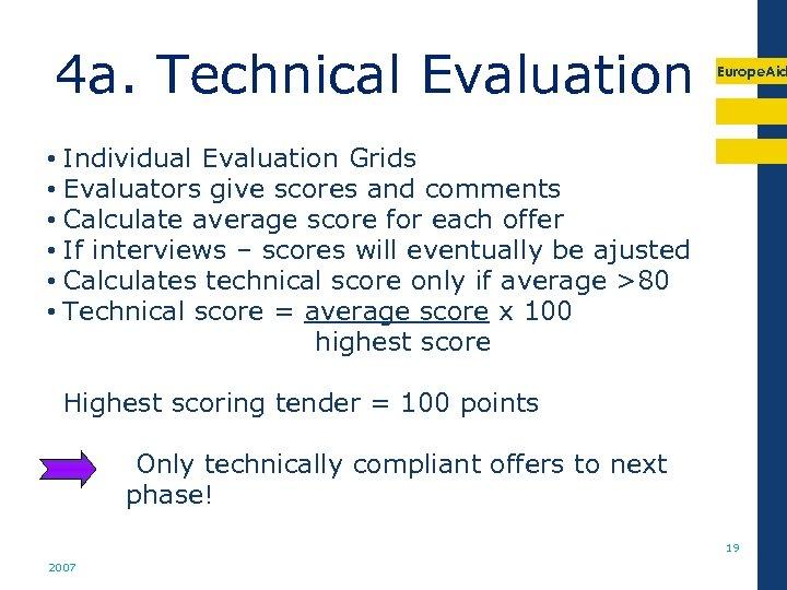 4 a. Technical Evaluation Europe. Aid • Individual Evaluation Grids • Evaluators give scores