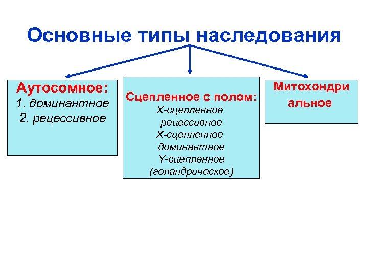 Основные типы наследования Aутосомное: 1. доминантное 2. рецессивное Сцепленное с полом: X-сцепленное рецессивное X-сцепленное