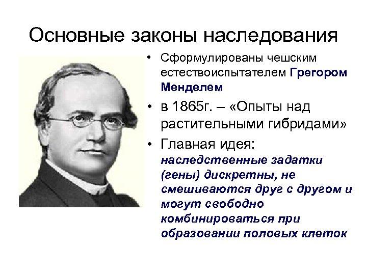 Основные законы наследования • Сформулированы чешским естествоиспытателем Грегором Менделем • в 1865 г. –