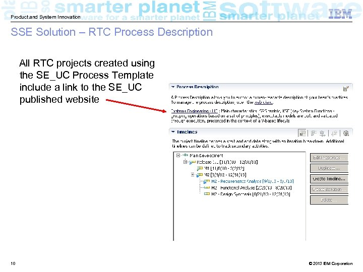 Product and System Innovation SSE Solution – RTC Process Description All RTC projects created