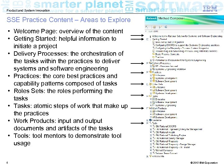 Product and System Innovation SSE Practice Content – Areas to Explore • Welcome Page: