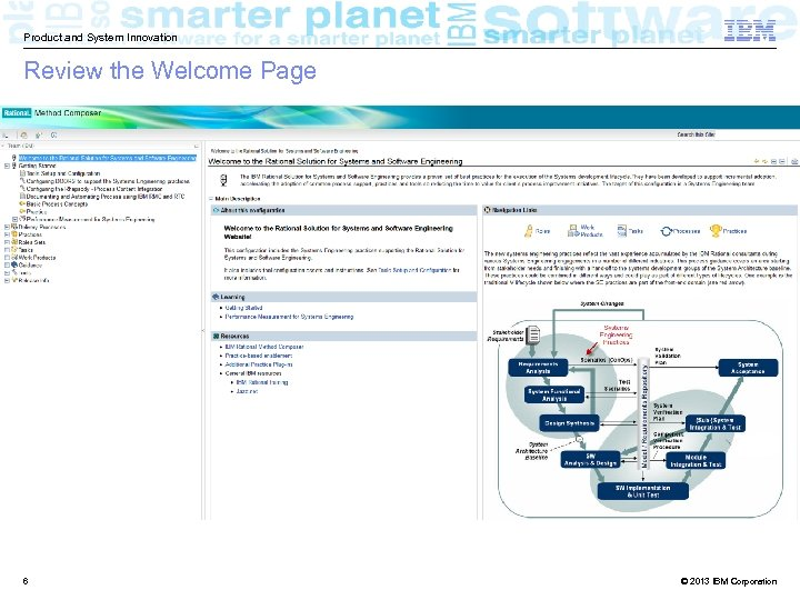Product and System Innovation Review the Welcome Page 6 © 2013 IBM Corporation