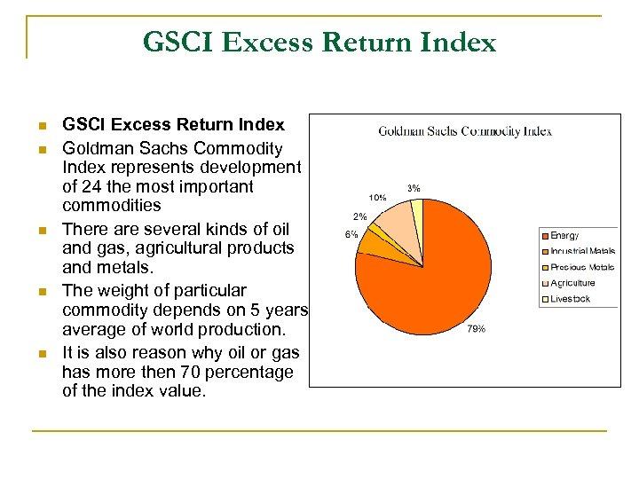 GSCI Excess Return Index n n n GSCI Excess Return Index Goldman Sachs Commodity