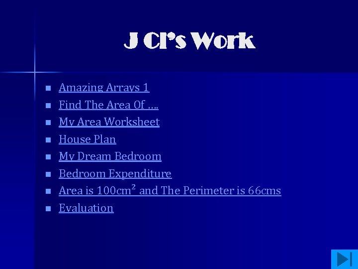 J Cl's Work n n n n Amazing Arrays 1 Find The Area Of