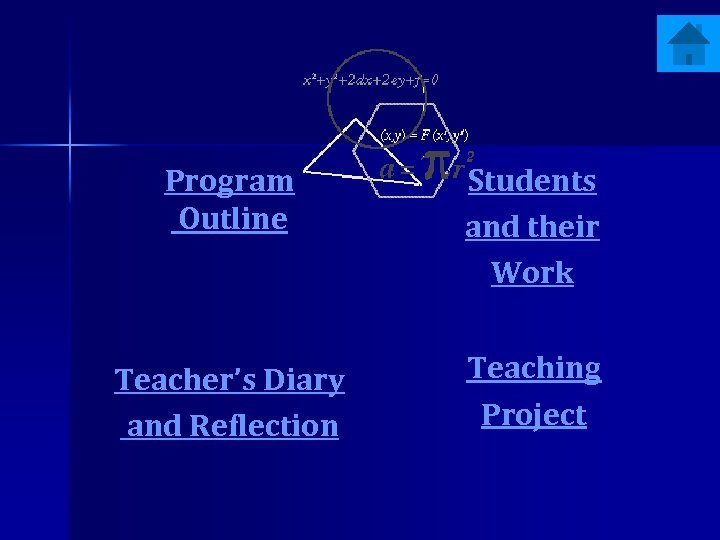 Program Outline Students and their Work Teacher's Diary and Reflection Teaching Project
