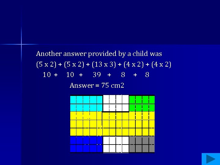 Another answer provided by a child was (5 x 2) + (13 x 3)