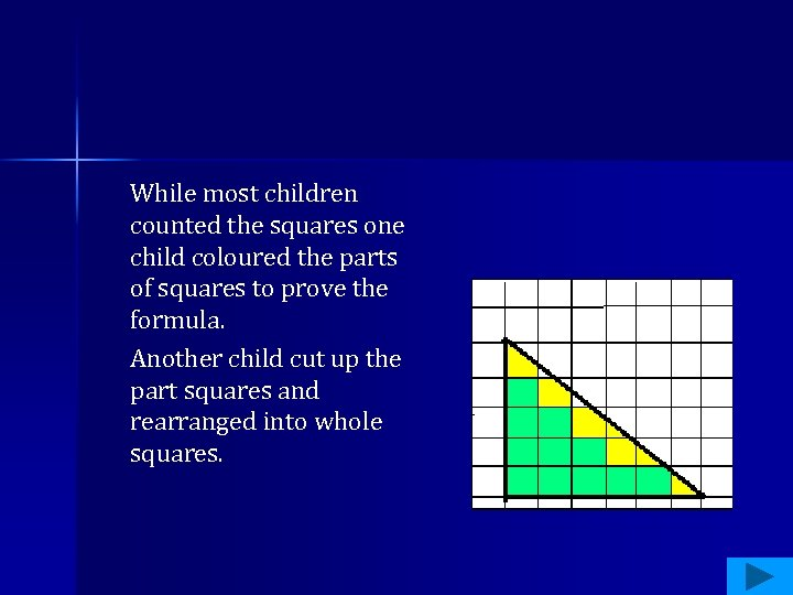 While most children counted the squares one child coloured the parts of squares to