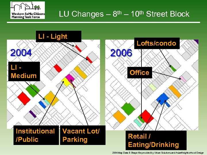 LU Changes – 8 th – 10 th Street Block LI - Light LI
