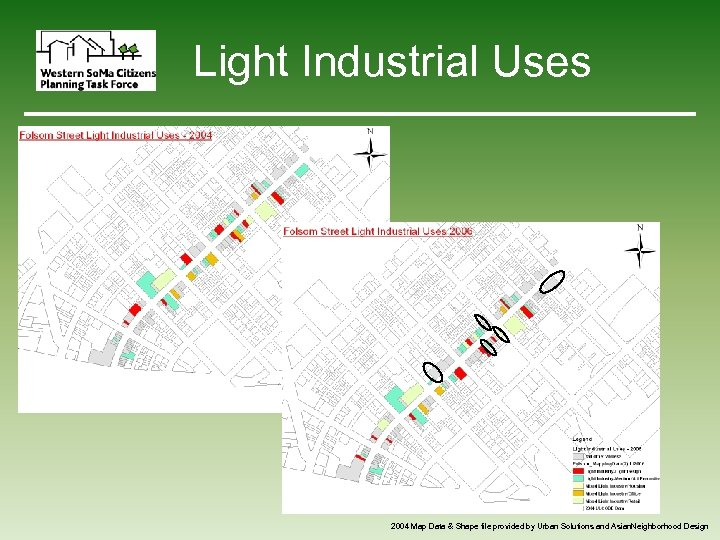 Light Industrial Uses 2004 Map Data & Shape file provided by Urban Solutions and