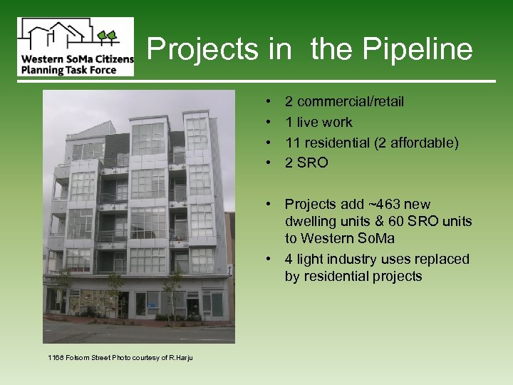 Projects in the Pipeline • • 2 commercial/retail 1 live work 11 residential (2