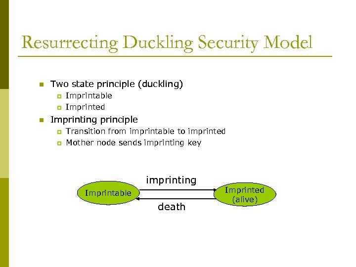 Resurrecting Duckling Security Model n Two state principle (duckling) p p n Imprintable Imprinted