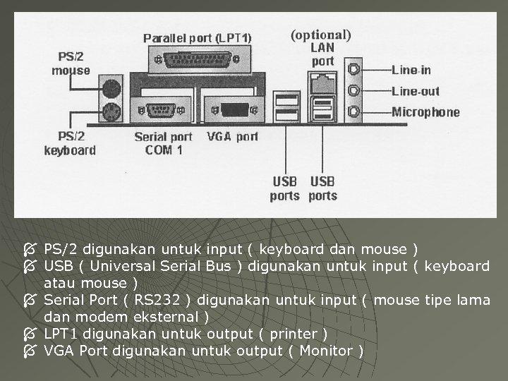 Í PS/2 digunakan untuk input ( keyboard dan mouse ) Í USB ( Universal