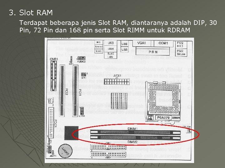 3. Slot RAM Terdapat beberapa jenis Slot RAM, diantaranya adalah DIP, 30 Pin, 72