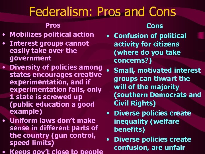 Federalism: Pros and Cons • • Pros Mobilizes political action Interest groups cannot easily