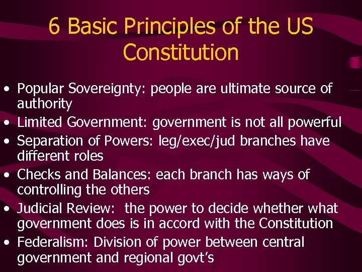 6 Basic Principles of the US Constitution • Popular Sovereignty: people are ultimate source