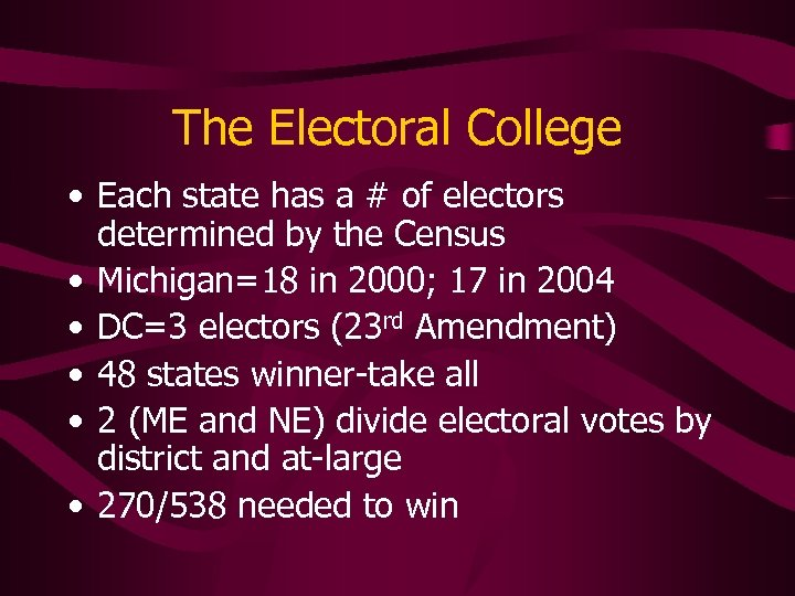 The Electoral College • Each state has a # of electors determined by the