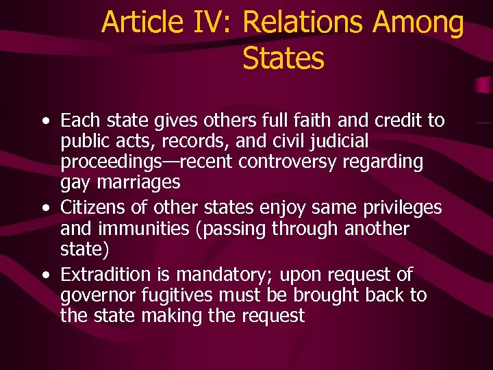 Article IV: Relations Among States • Each state gives others full faith and credit