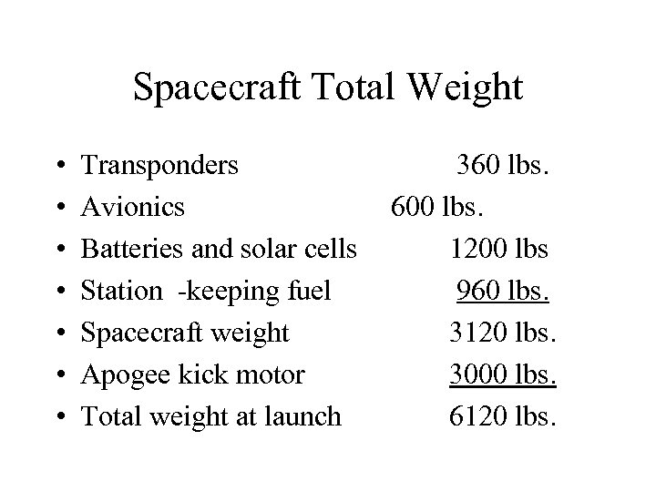 Spacecraft Total Weight • • Transponders Avionics Batteries and solar cells Station -keeping fuel