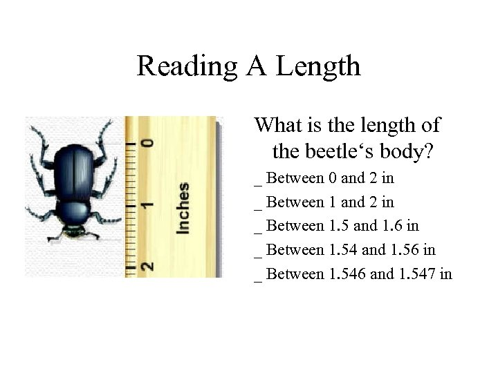 Reading A Length What is the length of the beetle's body? _ Between 0