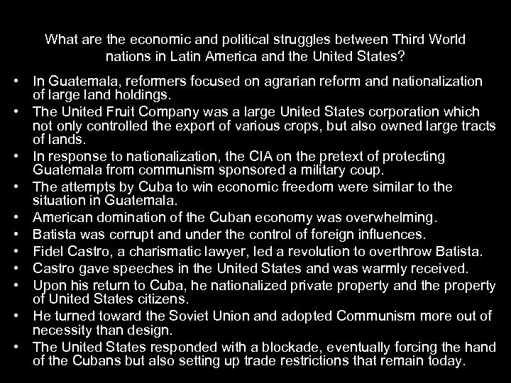 What are the economic and political struggles between Third World nations in Latin America