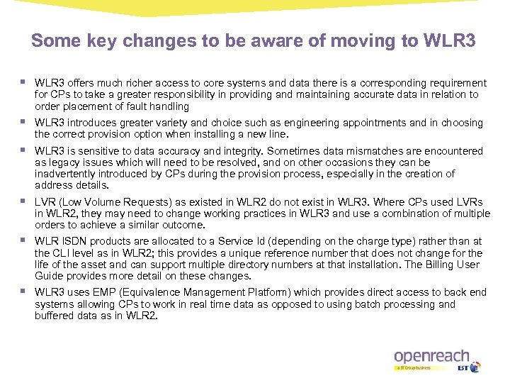 Some key changes to be aware of moving to WLR 3 § WLR 3