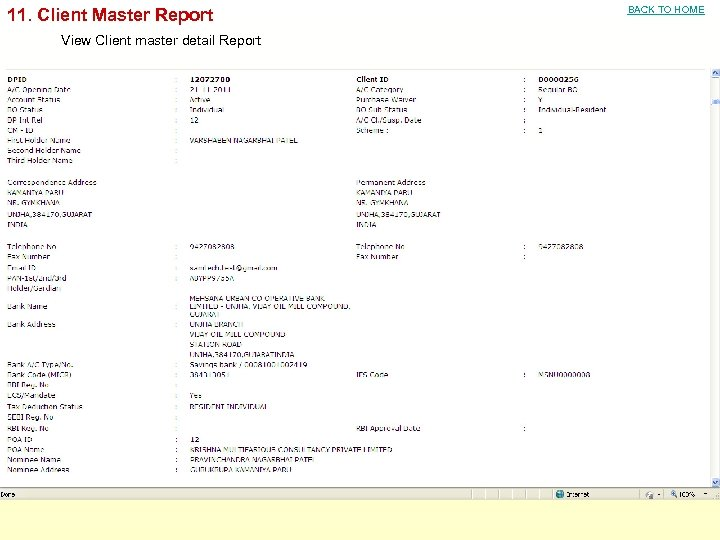 11. Client Master Report View Client master detail Report BACK TO HOME