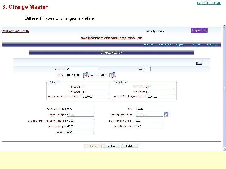 3. Charge Master Different Types of charges is define. BACK TO HOME