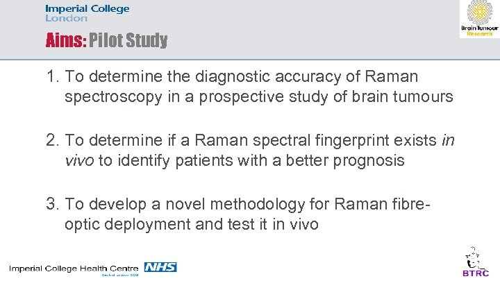 Aims: Pilot Study 1. To determine the diagnostic accuracy of Raman spectroscopy in a